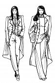 Two stylish lovely girls.Fashion sketch vector
