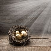 Golden Easter Eggs With Light Beams