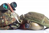 Knife and military equipment with helmet, and binoculars