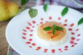 picture of panna  - dairy dessert panna cotta with fruit and syrup  - JPG