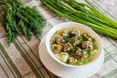 Soup With Meatballs And Fresh Dill And Onion