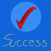 Success Text With Check Mark On Blue Background