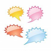 Colorful Dialog Speech Bubbles Icons On White Background