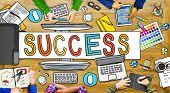 Group of Hands with Success Concepts in Photo and Illustration