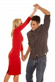 Couple Dancing Him Going Under Arm