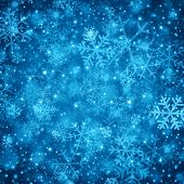 Christmas light and snowflakes vector background. Card or invitation decoration.