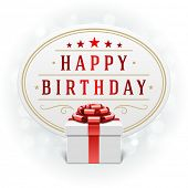 Gift box and light happy birthady vector background. Greeting card or invitation. Eps 10.