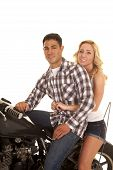 Couple Sitting On A Motorcycle Western Shirt Smile Close