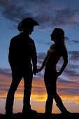 Silhouette Couple Hold Hands Cowboy