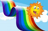 Illustration of a rainbow beside the happy sun
