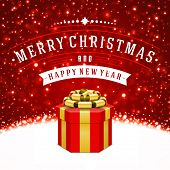 Gift box and light christmas vector background. Greeting card or invitation. Eps 10.