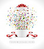 picture of confetti  - Open gift box and with red bow and ribbon vector illustration - JPG