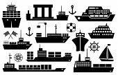 stock photo of passenger ship  - Set of black and white silhouette ships and boats icons showing passenger lines  cruise ship  sailboat  yacht  container ship  tanker in frontal and side views - JPG