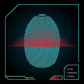 picture of fingerprint  - Fingerprint scanning and identification showing a blue whorled print with a red scanner beam on an electronic device for access and security  vector illustration - JPG