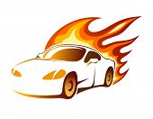 image of fiery  - Modern luxury sporty coupe sports car with fiery orange burning flames depicting speed  vector illustration on white - JPG
