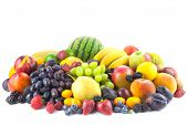 Mix of Fresh Organic Fruits isolated on white background