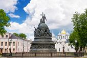 Bronze Monument For Millennium Of Russia In The Novgorod Kremlin, Veliky Novgorod, Russia