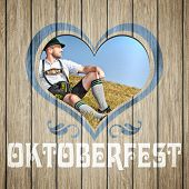 An image of a beautiful wooden heart Oktoberfest