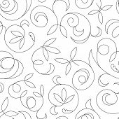 seamless abstract black floral background isolated