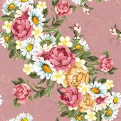 Floral peonies seamless pattern in vintage style. Beautiful vector texture