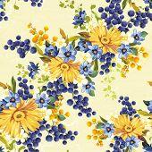 Vintage seamless pattern with gerberas