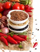 Red, Black And Unpolished Organic Rice And Vegetables