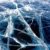 Winter Baikal. Texture of ice on the winter lake.