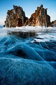 Shamanka Rock on the bank of winter Baikal