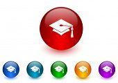 education internet icons colorful set