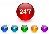 24/7 internet icons colorful set