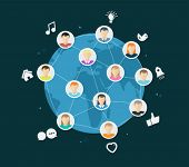 Online global community vector with app icons on dark background