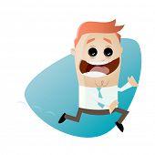 funny cartoon businessman is running