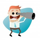 funny cartoon businessman with telescope