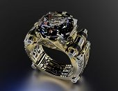 Golden Engagement Ring with black Diamond. Jewelry background