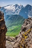 Summer View Of Sass Pordoi Mount And Fassa Valley, Italian Dolimites