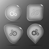 Gears. Glass buttons. Raster illustration.