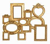 Antique Golden Framework Isolated On White