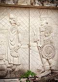 Stone Door With Ancient Sculptures