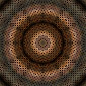 Perforated grunge and rusty metal caleidoscope