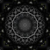 Black metal steampunk style detailed kaleidoscope illustration