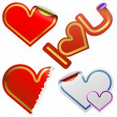 Heart shaped stickers with color frames isolated on white background.