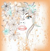 abstract beautiful woman with flowers