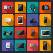 Modern Flat Icons Vector Collection With Long Shadow Effect In Stylish Colors Of Traveling,