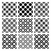 Circles In 9 Seamless Monochrome Vector Patterns
