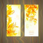 Set of abstract autumn card with place for text