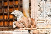 foto of masterpiece  - Detail of the lion and column in red marble of the Basilica of San Zeno  - JPG