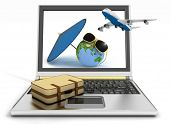 Plane with suitcase, globe and umbrella on laptop screen. Travel and vacation concept. Trendy signs