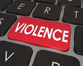 Violence word on a red computer keyboard button to illustrate violent video games or internet websit