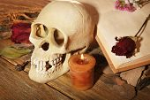 Human skull with dried rose petals and candle on wooden table, close-up