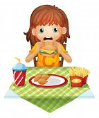Illustration of a hungry little girl eating on a white background